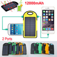 Wholesale Weatherproof Dustproof mAh Solar Charger and Battery Solar Panel Dual USB power bank External Battery for Cellphone ipad MP4 Mobile