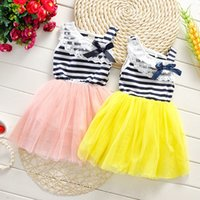 Wholesale Fashion Sweet Girls Stripe Tutu Dress Children Lace Bow Striped Party Dresses Kids Korean Style Pricess Dress