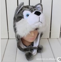 Wholesale Cute Animal Hat Plush Husky Timber Wolf Animal Winter Hat