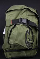 Wholesale Burning Man SPIT skateboard bag fashion backpack hip hop backpack special army green black