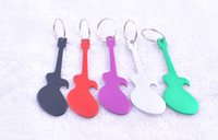 anodized aluminum alloy - 2015 colors Personalized Guitar Design Beer Can Opener Keychains Keyring Opener Aluminum Anodized Keychains