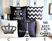 Wholesale New Arrive Home Decorative Cotton Linen Blended Crown Throw Pillow Case