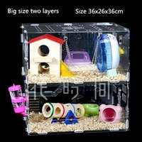 Wholesale Big Size Two Layers Hamster Cages Acrylic Small Animal Pet Rats House Habitats Hutches Storage Box Cage Hamsters Pets Supplies