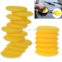 Wholesale Very Useful Soft Yellow Polish Round Car Cleaning Washing Sponges Wax Sponge Vehicle Glass Clean Free Ship