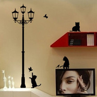 bedroom decorating designs - 1PC New Design Cat Lamp Wall Stickers Art Decals Beautiful Home Decorate FZ2052
