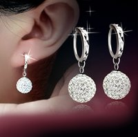 Wholesale 2017 New wonen fashion Silver Dangle Earrings Shambala Diamond Ball Rhodium Plated pendant