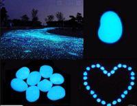 glow stone - novelty solar energy glow pebble stone Glow in the Dark DIY Decorative Gravel Stones For Fish Tank Luminous Stone Color for sale
