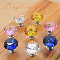 Wholesale Pink transparent yellow blue Crystal diamond shape kitchen cabinet handles and knobs furniture drawer accessory single pulls