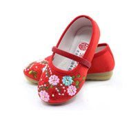 baby boy trends - Cotton made beijing shoes embroidered national trend baby floral shoes cow muscle shoes outsole girls pair