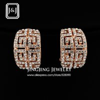 Wholesale Luxury G Brand Designer White Gold Plated Stellux Austrian Rhinestones Paved Earrings French Fashion Bijouterie GE027A