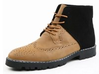 Wholesale New groom boots men high quality bullock carving Knight boots lace up Leisure shoes black Short boots leather boots size US7 US10 NSX15