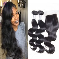 Cheap Brazilian Virgin Hair With Closure Hair with closure 3 Bundles Hair Weave with 1pcs Silk base closure sew in human hair weave extensions