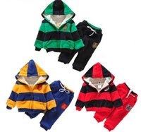 Wholesale Girls suits boys hooded cashmere sweater children sports suit children outfit set