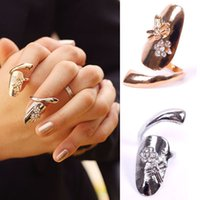 Wholesale Stylish Personality Nice Dragonfly Rhinestone Flower Finger Tip Ring Nail Art Decorations