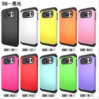 Wholesale For S6 Case Hybrid in Slim Tough Armor Cases TPU PC cover Shockproof for Samsung Galaxy S4 S5 S6 NOTE iphone plus S S LG g4