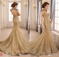 champagne tulle lace prom dress - 2015 Prom Dresses Party Evening Gowns High Neck Mermaid With Capped Sleeve Dress Backless Champagne Party Custom Made Plus Size Sequined