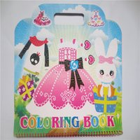 Wholesale Cute Sticker Dress - Dress cute gift sticker new children's cartoon puzzle books and painting books this adhesive stickers