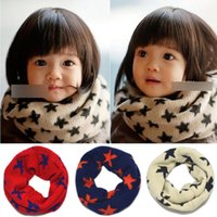 Wholesale New Baby Scarf Children s Muffler Autumn Neckerchief Girls Boys Scarves Wraps Neck Warmers Star Pattern Ring Scarf A1570