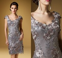 hand embroidery dresses - 2016 Scoop Neck Cap Sleeves Knee Length Mother s Evening Dresses Hand Made Silver Embroidery Flowers Mother of the Bride Dresses