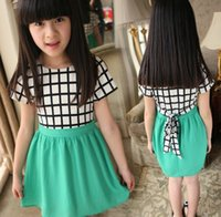 summer clothes for girls - For Big Girls Dresses Girl Plaid Check Grid Short Sleeve Ruffle Chiffon Dress Summer Kids Clothes Korean Children Clothing I3195