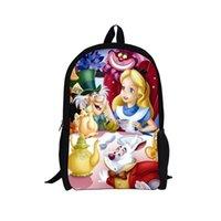 army alice pack - 3D Cartoon Children Back Pack Mochila Infantil Alice In Wonderland Shoulder Bag For Girl Kindergarten Kids Sports Bag