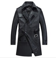 Wholesale 2016 Men s Double Breasted Faux Leather Long Trench Coat Spring Autumn Blazer Outerwear Long Jacket Slim Fit Casual Parka