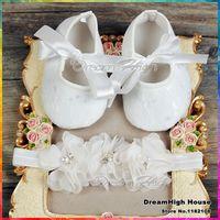 baby boy baptism shoes - Newborn party decoration Baptism shoes baby girl headband set sapato de bebe Infant Girl antiskid flowers shoe bebe B1931
