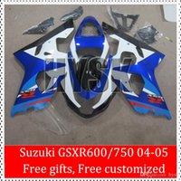 Precio de Suzuki gsxr750 fairing-Regalo libre GSXR600 GSXR750 K4 GSXR 600 GSXR 750 2004 2005 GSX-R600 GSX-R750 04 05 GSX R600 Kit de carenado del ABS R750 de Suzuki Azul Blanco Brillante