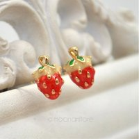 allergy products - High quality product sweet pink small strawberry stud earring for women Fashion Jewelry Anti allergy accessories FYSS0015