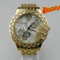 Wholesale luxury women watch geneva diamond stone quartz watches geneva butterfly fashion dress wrist ladies wristwatch watches for women from bassy