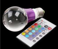 auto remote control key - 50pcs Free Ship DHL FEDEX Colors RGB Crystal Led Bulbs Ball Lamp AC V W E27 E26 Led Lights With Keys Remote Control