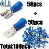 Wholesale 100pcs Blue Female Male Each Insulated Spade Wire Connector Electrical Crimp Assortment Kit mm mm AWG
