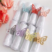 Cheap wedding decorations paper butterfly napkin ring wrap bridal shower wedding favors party table centerpieces Decoration supplies 9colors