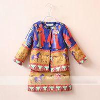 ancient egypt fashion - 2016 Fashion Ancient Egypt Horse Jacquard Children Girls Jacket Dress Outfits Style Girls Kids Lady Dress Set K6935