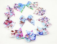 "Hairbands Chemical Fiber Character 200pcs girl ABC basis Frozen Latest 3"" girls hair bows flower clips baby character cartoon Elsa Anna princess hair band accessory HD3381"