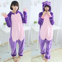 adult onesies - 2015 Purple Cat Flannel Anime Pajama Cartoon Christmas Halloween Cosplay Loungewear Adult Unisex Sleepwear Homewear Onesies Animal Pajamas