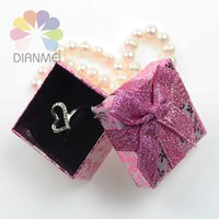 Wholesale Cheap Sale Jewelry Box x5x3cm Fashion Purple Rose Paper Jewelry Earrings Ring Set Box For Gift Packaging