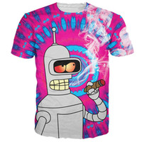 Wholesale 2015 Fashion Clothing Blazing Bender T Shirt psychedelic Futurama Bender d Character t shirt Summer harajuku tee for women men FG1510