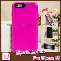 Cheap For iPhone 6S Hybrid Shockproof Armor Hard Plastic Soft TPU Case Back Cover PC With Slide Credit Card Slot For iPhone 6S