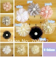 artificial decking - Cheap Baby Girls Double deck Lace Lacy Tulle Hair Flowers With Pearl Headdress Flowers TH05