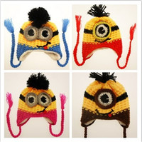 minion hat - 50pcs Despicable Me Minions Fashion Baby Crochet Hats Infant Knitted Caps Fall Autumn Winter Warm Beanie Boys Hat Yellow K5228