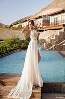 Wholesale 2017 New fashion Julie Vino Summer Evening Dresses Halter Backless Beaded Lace Topped High Slit Chiffon A line Beach Prom Gowns BO5557