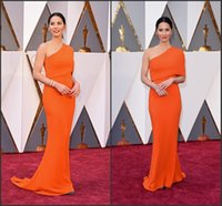 Wholesale 2016 th Oscar Celebrity Dresses One Shoulder Glamorous Orange Mermaid Red Carpet Gowns Sweep Train Formal Evening Pageant Gowns