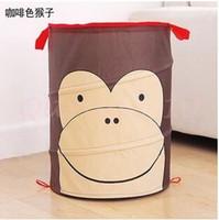 animal laundry basket - 1000pcs CCA2993 New Arrival Cartoon Owl Bee Blue Dog Monkey Animal Foldable Clothes Toy Laundry Baskets Bin Storage Bag Mesh Storage Basket