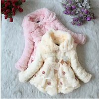 Wholesale year old Korean version of the new children s winter fur coat small girls princess cotton padded cotton jacket S976