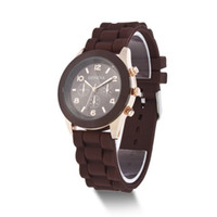 battery circle - Fashion Jelly Watches Quartz Watches Geneva Watches Three Circles Display Silicone Strap Candy Color Unisex Rubber Watches
