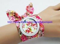 ladies dress fabric - 100pcs Fashion women ladies girls cloth watch fabric rose flower quartz watches bracelet dress students wrist watches colors sale