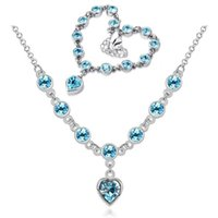 heart model - Austrian crystal jewelry crystal necklace and bracelet female models hearts Korean Fashion Jewelry Sets z116