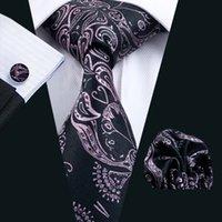 Estampado de flores de color rosa corbata Conjunto Hombres Gemelos Hankerchief seda jacquard tejida de negocios formal corbata 8,5 cm Anchura Casual Set N-0291
