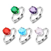 Solitaire Ring amethyst oval ring - Mix Color Holiday Jewelry Gift Newest Oval Amethyst Quartz Blue Topaz Gemstone Sterling Silver Plated Ring R0676680